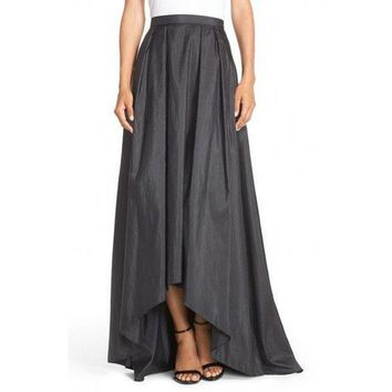 ICIKDZ2 Modest Elegant High Low Skirt Customized Zipper Waistline Floor Length Long Maxi Skirt Pleated Asymmetrical Skirts Women