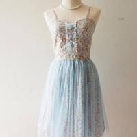 FAIRY ROMANCE - Baby Blue Romantic Party Dress Rustic Wedding Floral Bridesmaid Dress Tutu Skirt Dress Vintage Floral Dress