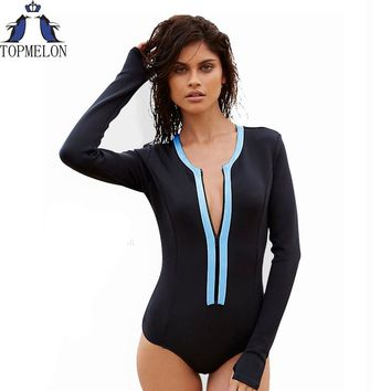 Swimsuit long sleeve Swimwear Vintage One-piece Surfing Female One Piece Swimsuit Cut Out bathing suit
