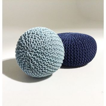 Handmade Round Knitted Pouf | Blue Tint | 50x35cm | GFURN