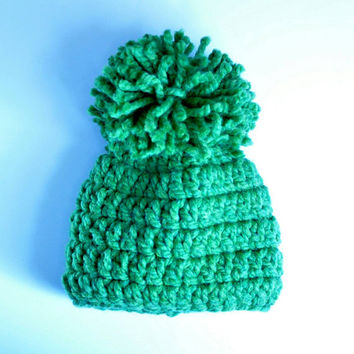 Kids Hat, Beanie, Kids Beanie, St. Patty's Day Hat, St Pattys Day, Green Hat, Green Beanie, Pom Pom, Newborn, Toddler Hat