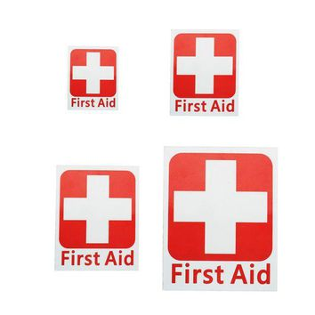 VONL8T 1pc Emergency First aid Vinyl Sticker Label Waterproof Signs Red Cross Health outdoor camping hiking Safety and survival sticker