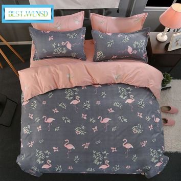 BEST.WENSD luxury fashion Flamingo 3/4pc bedding set bedspreads king size bed cover +flat sheet-coverlet bed-Wedding bedclothing