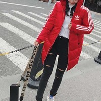 """""""Adidas"""" Women Casual Fashion Multicolor Stripe Long Sleeve Hoodie Cotton-padded Clothes Coat"""