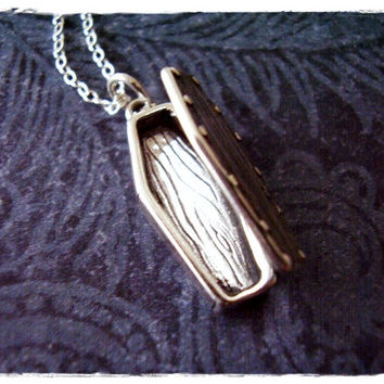 Silver Movable Coffin Necklace - Sterling Silver Coffin Charm on a Delicate 18 Inches Sterling Silver Cable Chain