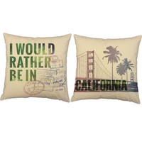 Rather Be In California Throw Pillows