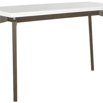 Josef Lacquer Console in White & Dark Brown design by Safavieh