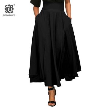 Winter Long Skirt With Pocket High Quality Solid Ankle-Length Back Bow Vintage Skirt For Women Black Long Skirt