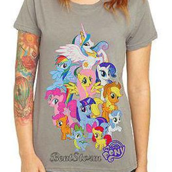 Licensed cool My Little Pony Group Tee Shirt T Blouse Cartoon Ponies Mane Six Junior Large NEW