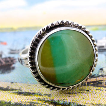 Chimney Butte Ring | Vintage Sterling Silver Ring | Navajo Ring | Native American Ring | Bohemian Ring | Boho Gemstone Ring | Size 8.25