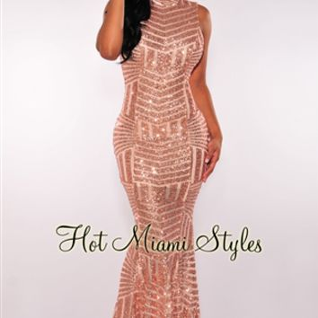 Rose Gold Sequins Open Back Maxi Gown