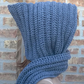 Hooded Scarf, Hooded Cowl, Gray Scarf, Crochet Hooded Scarf, Womens Scarf, Winter Scarf, Gray Hooded Scarf