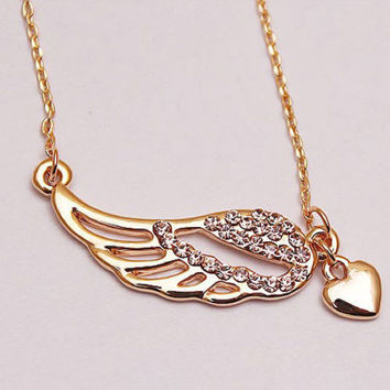Heart and Angel Wings Necklace