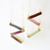 Gold Gemstone Bar Necklace Golden Bar Bezel Gemstone Necklace Gold Plated Sterling Silver Bezel Gemstone Pendant