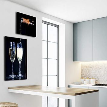 "Quique Photography Bar Decor Collage of Two Pictures of Champagne Pouring into Champagne Glasses Ideal for bar Decorations, Home Wall Decor Printed in Metal (Aluminum) 16x20"" and 20x30"""