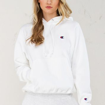 Champion Pullover Hoodie in Nude and White