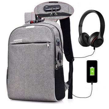Anti-theft 17 Inches Laptop Bag With USB Charger Backpack