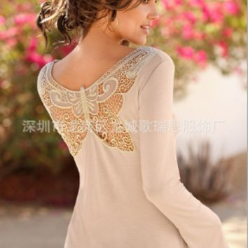 Lace Butterfly Long Sleeve Shirt