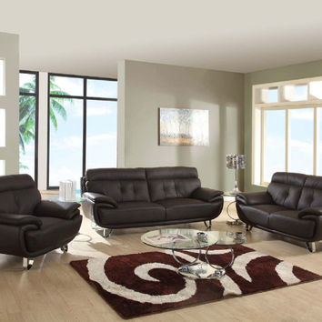Global United A159BR-2PC 2 pc Shirley collection modern style brown genuine leather upholstered sofa and love seat set