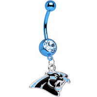 Officially Licensed NFL Carolina Panthers Dangle Belly Ring | Body Candy Body Jewelry
