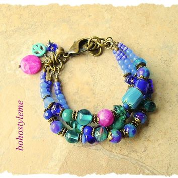 Boho Gemstone Bracelet, Aurora, bohostyleme, Modern Hippie, Fun Colorful Jewelry, Multiple Strands, Kaye Kraus