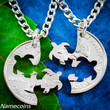 Turtle Necklace friendship necklaces Interlocking Love Necklace Set Quarter, gifts for best friends, hand cut coin