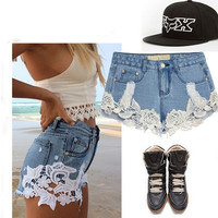 Light Blue Lace Up Jeans Shorts