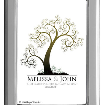 Fingerprint Guest Tree, TREE GUEST BOOK, Wedding Tree, Love Birds, Thumbprint Love Tree guest book, 11x17 num. 108