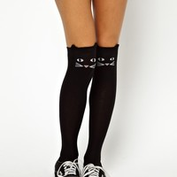 Lazy Oaf | Lazy Oaf Kitty Knee High Socks at ASOS