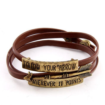 Follow Your Arrow Wherever It Points Faux Suede Folded Bracelet - Black or Brown
