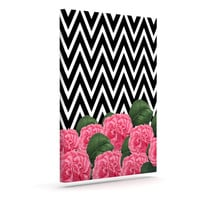 "Suzanne Carter ""Camellia"" Chevron Flower Outdoor Canvas Wall Art"