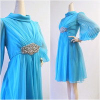 60s Dress Vintage Turquoise Chiffon Jeweled by voguevintage