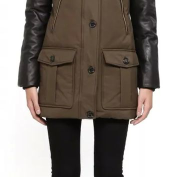 Mackage - CYNTHIA-F4 ARMY DOWN HOODED WINTER PARKA FOR WOMEN WITH LEATHER SLEEVES