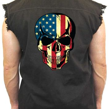 Men's Sleeveless Denim Shirt USA Flag Skull Denim Vest