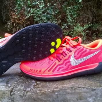 custom nike free 5.0+2 sneakers sport athletic run womens shoes glow red black blinged