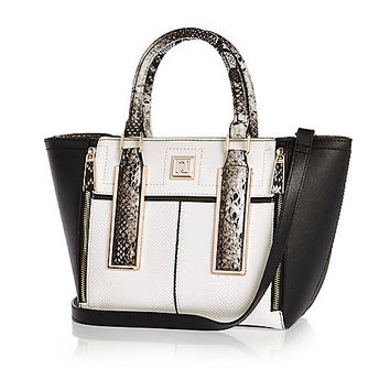 White print mini winged tote handbag - shopper / tote bags - bags / purses - women