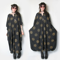 Sun Goddess Boho Black Ethnic Kimono Slouchy Burnout Tent Dress // Maxi Dress // Witchy // Celestial