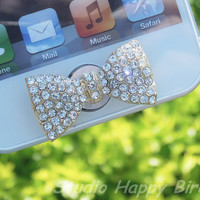 Valentine's Day Special Sale - 1PC  Bling Crystal Big Bow Apple iPhone Home Button Sticker, Cell Phone Charm for iPhone 5,4,4g,4s, iPad