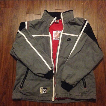 Vintage Nike Grey Tag Air Jordan Jacket shirt windbreaker blue tag