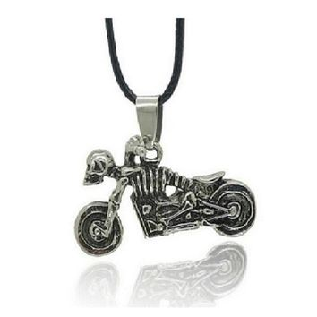Skull Motorcycle Pendant Necklace For Men