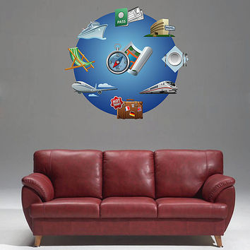 kcik504 Full Color Wall decal Compass travel steamer trunk plane travel agency