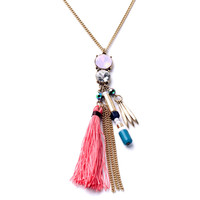 Natural Crystal & Pink Tassel Necklace 18k gold Plated Raw Quartz Long Chain Boho Chic