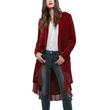 Women Velvet Chiffon Spliced Trench Coat Vintage Loose Long Sleeve Open Stitch Long CoatLadies Solid Colour Outwear Casaca Mujer