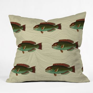 Natt Green FIsh Throw Pillow