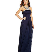 Jodi Kristopher Beaded Y-Neckline Long Dress - Dark Indigo