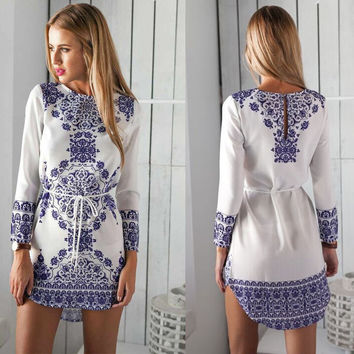 Floral Print Irregular Long Sleeves Short Dress