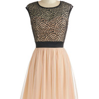 Mid-length Cap Sleeves A-line Starlet's Web Dress in Peach