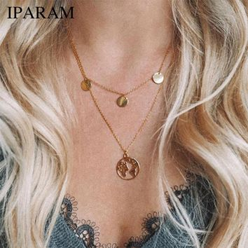 IPARAM New Hot Sale World Map Necklace Earth Day Gift For Best Friends Wanderlust Pendants Personalized Fashion Outdoor Necklace