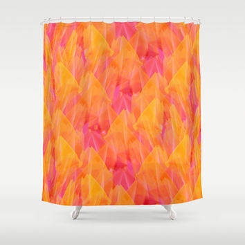 Tulip Fields #105 Shower Curtain by Gréta Thórsdóttir  #floral #tulips #pattern #bathroom #abstract #Genus #Tulipa #Liliaceae