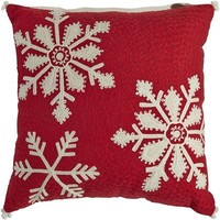Chain-Stitch Snowflake Pillow - Red